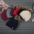 2017 Rushed Special Solid Adult Gorro C Men's Women's Chucky Stretch Cable Knit Slouch Cc Beanie Skully Warm Ski Hat Fur PomPom