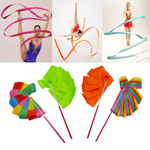 2M 10Colorful Art Gymnastic Ballet Streamer Twirling Rod Stick Gym Ribbons Dance Ribbon Rhythmic For Training Professional S