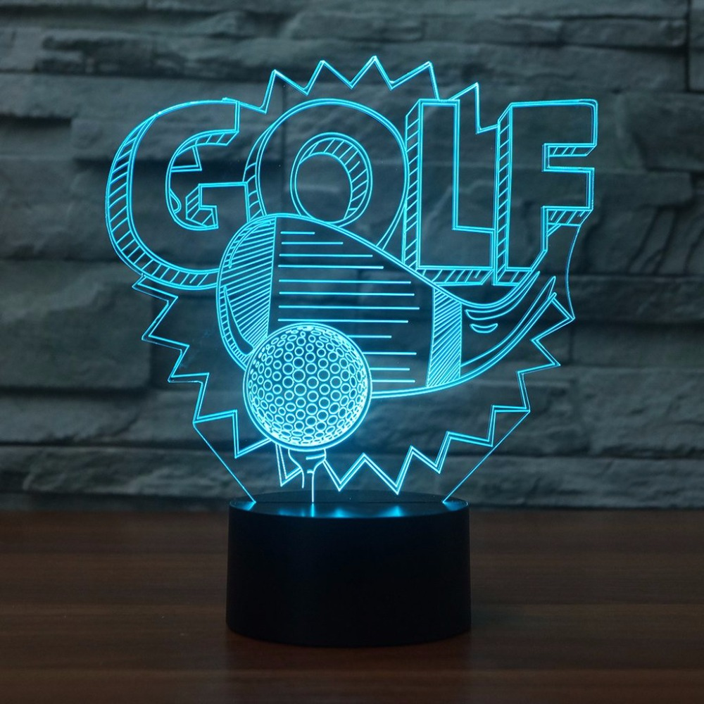 3D Golf Modelling LED NightLight 7 Colors Desk Table Lamp Lampara Light Fixture Golf Enthusiast Gifts Baby Sleep Lighting Decor