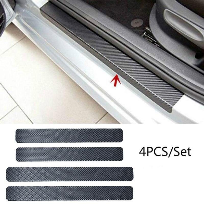 4 PCS Universal Car Door Sill Anti Kick Stickers Scuff Anti Scratch Carbon Fiber Auto Door Sticker Car Accessories Small Scraper