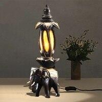 Творческий слон лампы Таиланд деревянная тумбочка прикроватная лампа бар ретро украшения дома вход Юго Восточной Азии настольная лампа