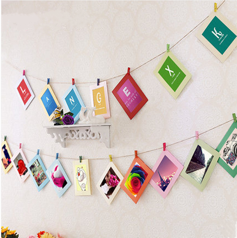 Beatiful diy cardboard photo frame with wood clips rope for Picture frame with clips diy