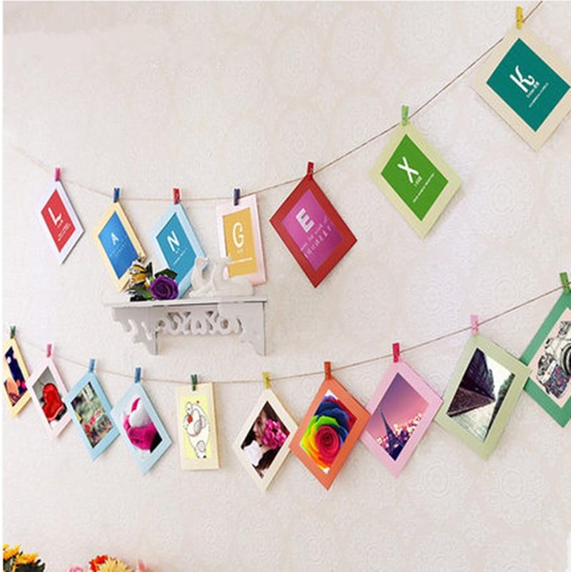 ᗐDIY hermoso cartón Marcos con madera Clips y cuerda retrato pared ...