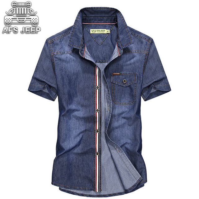 dbe7eea43 New 2018 Men jeans Shirts Plus size 4XL Original brand AFS JEEP Denim Design  Casual Male Summer Cool Clothing