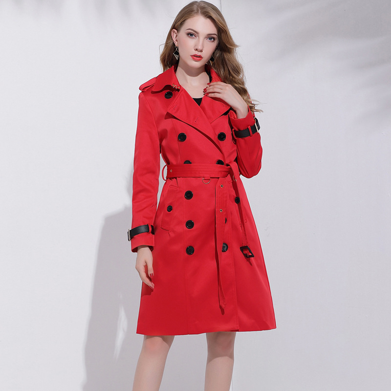 Women Autumn New Classic British Red Double-Breasted Long   Trench   Solid Color Was Thin Elegant Coat High-End Mujer Coat MZ3188