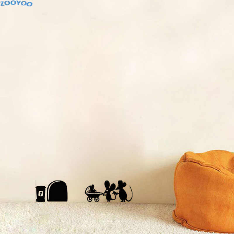 ZOOYOO Small Mouse Funny Wall Stickers Animals Wall Decal For Kids Rooms Home Decor Creative Wall Decoration