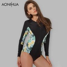 AONIHUA Swimwear Women New Sport One Piece Slim Bodysuit  Push Up Long Sleeve Female Lady Beach Surfing Bathing Black Swimsuit