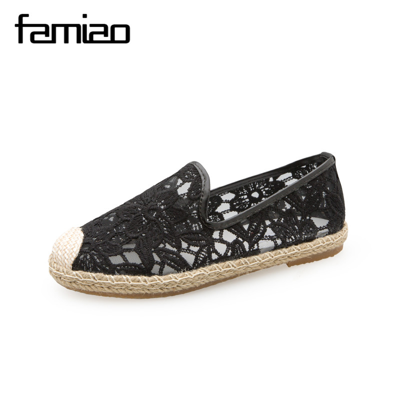 FAMIAO women casual flat heels shoes woman loafers straw hemp rope embroidery fisherman flower slip on boats lazy shoes