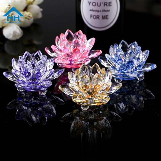 80mm Quartz K9 Crystal Lotus Flower Fengshui Home Decor Collection