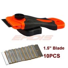 1.5 pulgadas de afeitar rascador con 10 UNIDS hoja de repuesto de coches auto piezas de repuesto de coches ventana pegamento burbuja de aire extracción de hojas de afeitar CN051 + 10B