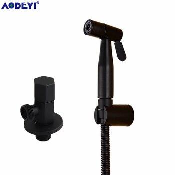 цена на Handheld Bidet Spray Black  Shower Sprayer Set Toilet Shattaf Sprayer Douche kit Bidet Faucet, 304 Stainless Steel