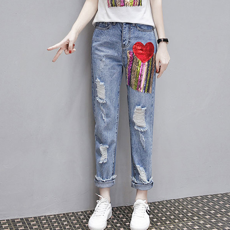 Fashion Summer Women Hole Ripped Jeans Two Piece Set Sequined Short Sleeve T-shirt Tracksuit Streetwear Slim Fit Ensemble Femme 4