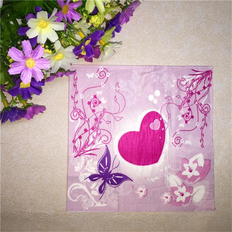 Tissue Napkin Paper Purple Pink Printed Flower Love Heart