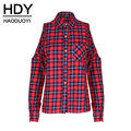 HDY Haoduoyi Plaid Print Cold Shoulder Blouse Long Sleeve Turn-down Collar Single Breasted Top Cut Out Pocket Casual Blouse