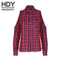 Hdy haoduoyi estampado de cuadros de frío hombro blusa de manga larga da vuelta-abajo de un solo pecho top cut out pocket casual blusa