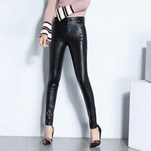 Image 5 - Novas mulheres sexy de alta qualidade couro do plutônio calças magras biker velo forro cintura alta senhora do escritório calças lápis de couro longo