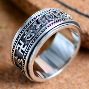 Image 4 - Zabra Echt 925 Sterling Zilveren Spinner Ring Vintage Zes Woorden Mantra Mens Zegelringen Punk Sieraden Voor Mannen