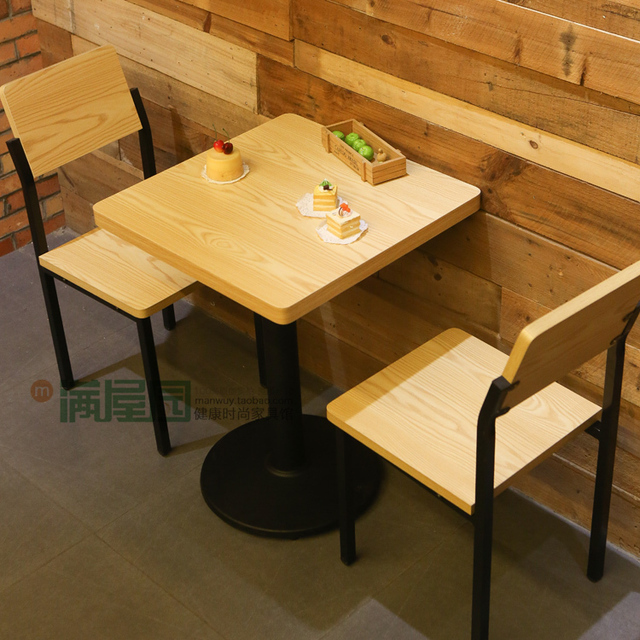 Wholesale Wood Color Table Tea Cafe Tables And Chairs Tables And Chairs Combination Of Fast Food Dessert Tables And Chairs