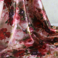Beautiful Rose Flowers Digital Print Satin Fabrics For Dresses