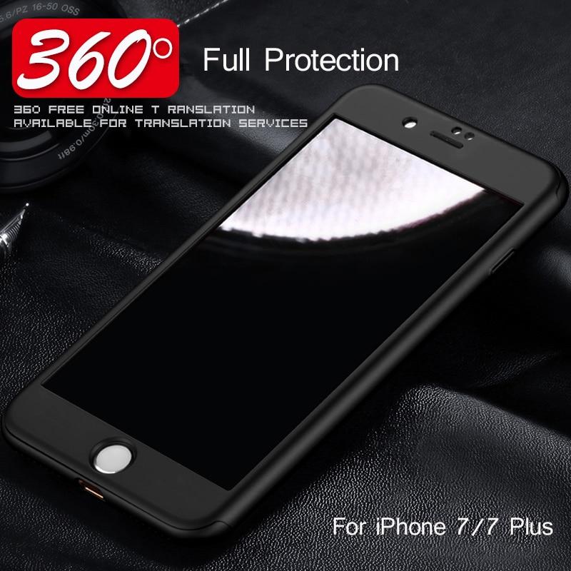 S tvrzeným sklem pro iPhone 7 Plus Pouzdro iPhone 7 Plus Vpower Luxusní 360 Ochranný matný a hladký kryt pro iPhone 7 Plus
