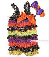 Halloween Pumpkin Purple Orange Black Lace Baby Girl One Piece Romper NB-3Year RH145