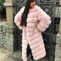 110CM X-long women's real fox fur coat 2018 new collection thick warm long Jacket The gorgeous fox fur Coat 12 panles