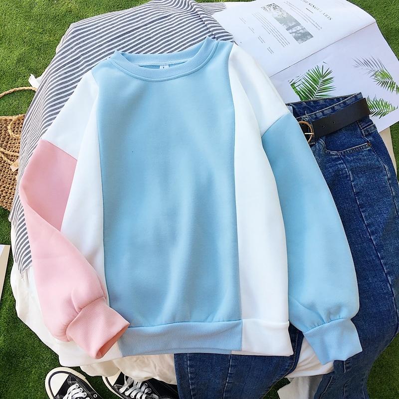 Harajuku Women Pink Hoodies Japanese Style Hooded Kpop New Casual Cute Fleece Warm Winter Sweatshirts Pullovers Moletom Feminino