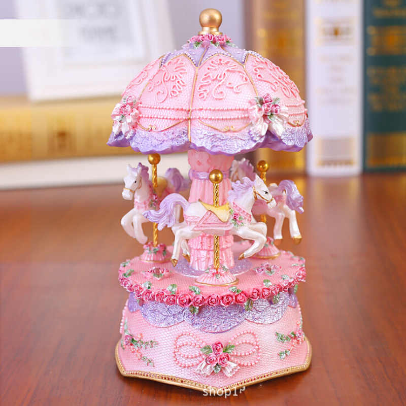 Flashing LED Light Resin Carousel Music Box Kids Girls Valentine's Day Birthday Christmas Gift Toy Wedding Home Decor