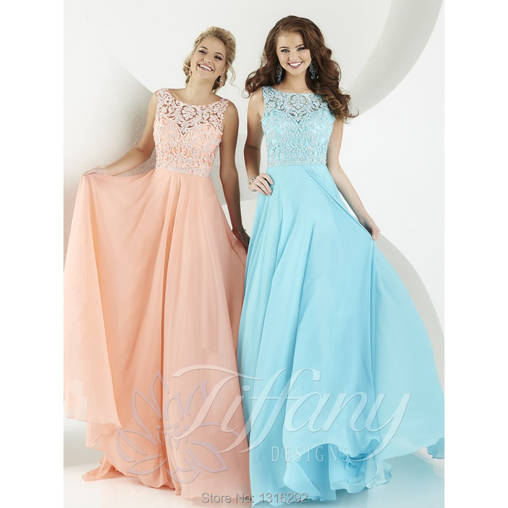 Light Blue Peach Chiffon Long Backless Prom Dresses With Lace Top ...