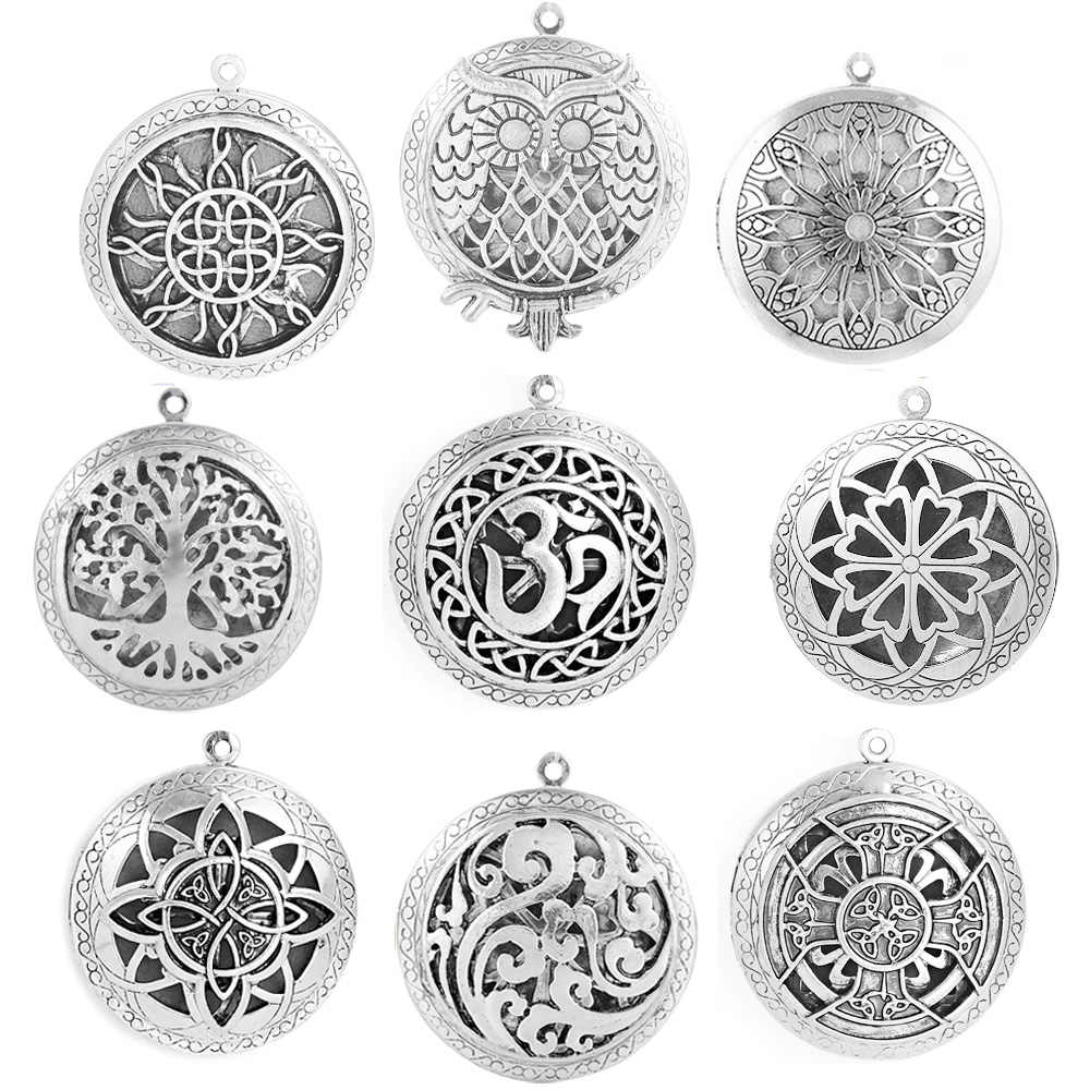 1pc Round Antique Memory Photo Perfume DIY Jewelry Vintage Pendant Locket Aromatherapy Essential Oil Diffuser Necklace Locket