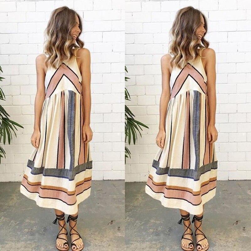 2018 neu Kommen Frauen Dame Sommer Kleid Kleidung Sleeveless Strand Casual Party Kleid Vestidos S-5XL