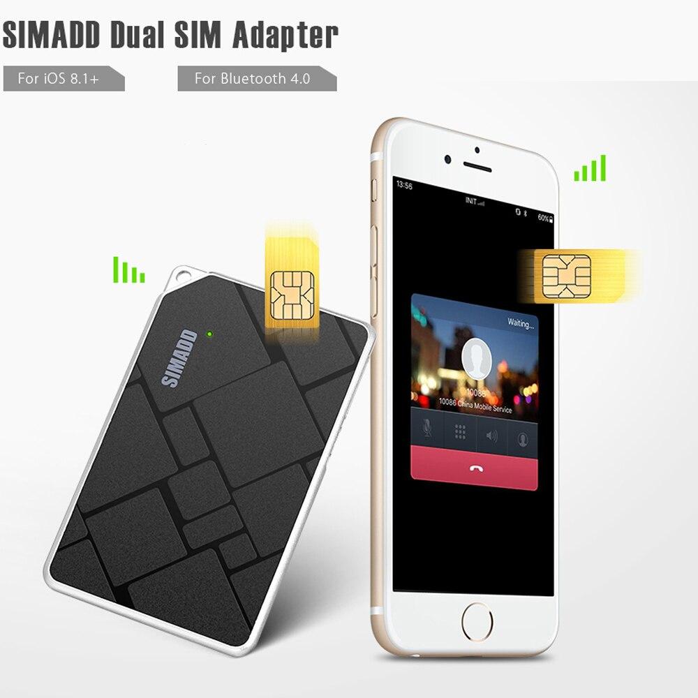 imágenes para Ultrafino SIMADD Adaptador de Tarjeta Dual SIM Bluetooth 4.0 de Marcación con Función de Obturador de La Cámara para el iphone 7/7 plus/iPad/iPod Touch
