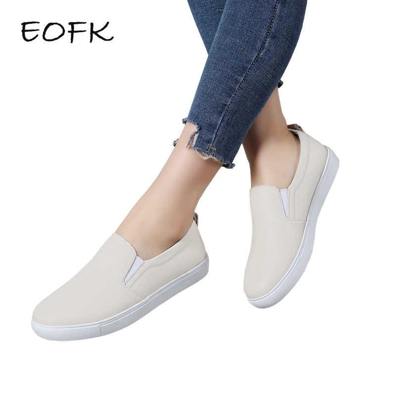 d9ecd46ac EOFK новый дизайн модные весенние женские туфли на плоской подошве лоферы,  кожаные туфли женские лоферы