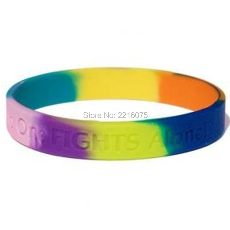 300pcs Multicolored No One Fights Alone! silicone wristband rubber bracelets free shipping by DHL express