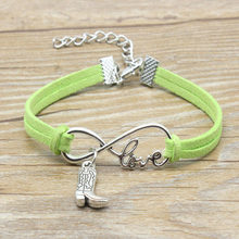 Casual Simple Antique Silver Love Infinity Figure Rain Boots Shoes Charm Pendant Leather Bracelets Best Gifts for Women Men(China)