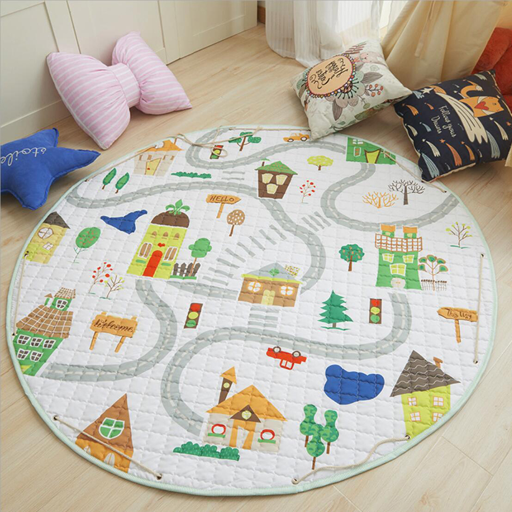 Animal Print Round Kids Rug Toys Infant Carpet Baby Play Mat Cotton Developing Mat Rug Puzzle Children's Carpet Play Mat Storage