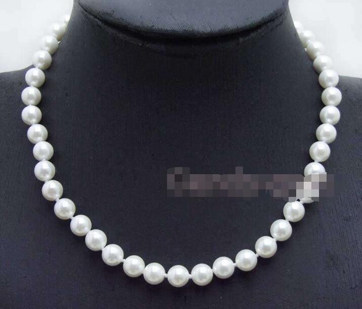 df9ad435594c Envío libre  venta pequeño 8mm alta calidad redondo blanco mar Shell perla  17 collar