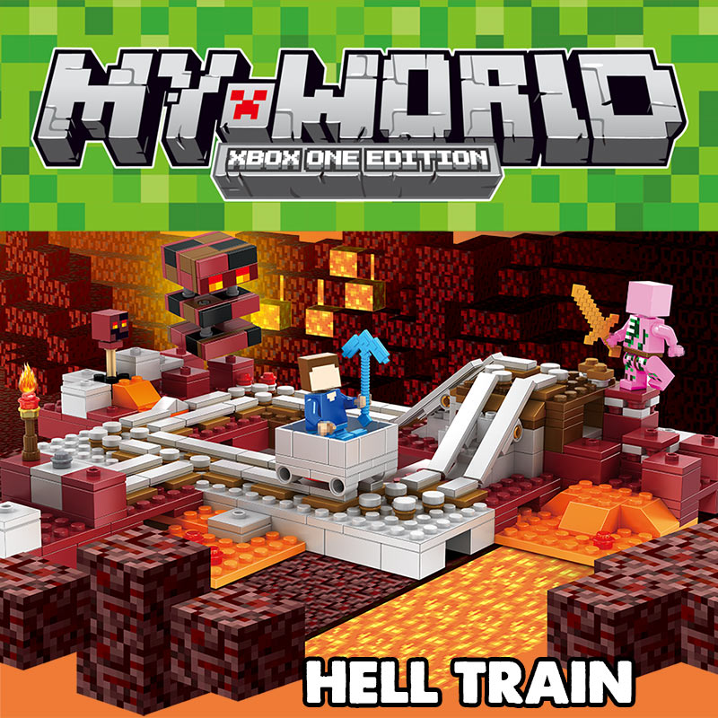 Technic Compatible LegoINGLYS Minecrafter New Hell Express Railway Nether Blocks My World Educational Toys For Children glasslock hg 638