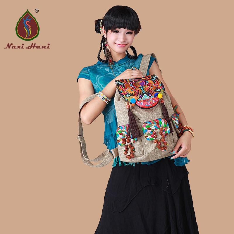 ФОТО HOT Ethnic embroidered Coarse linen womens backpack Fashion vintage handmade bodhi hang pendant Casual tassel Travel backpack