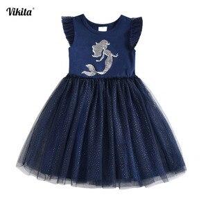 Платье-пачка VIKITA с единорогом для девочек, детское платье с блестками для девочек, платье для дня рождения, детские летние костюмы Единорогов