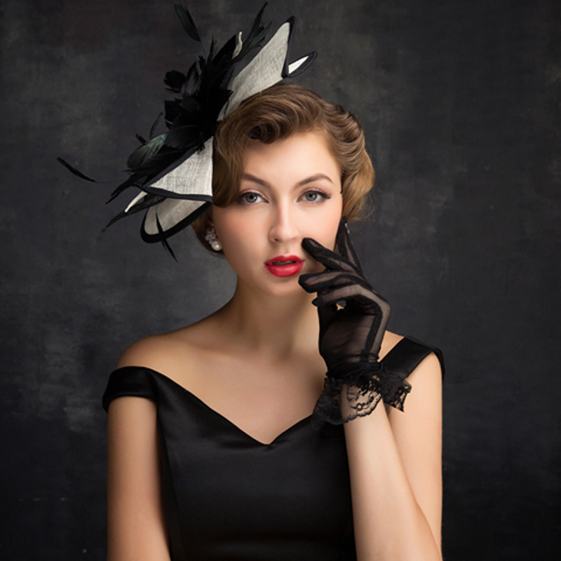 Women Chic Sinamay Fascinator Hat Cocktail Wedding Party Church Headpiece Fashion Headwear Formal Feather Hair Accessories