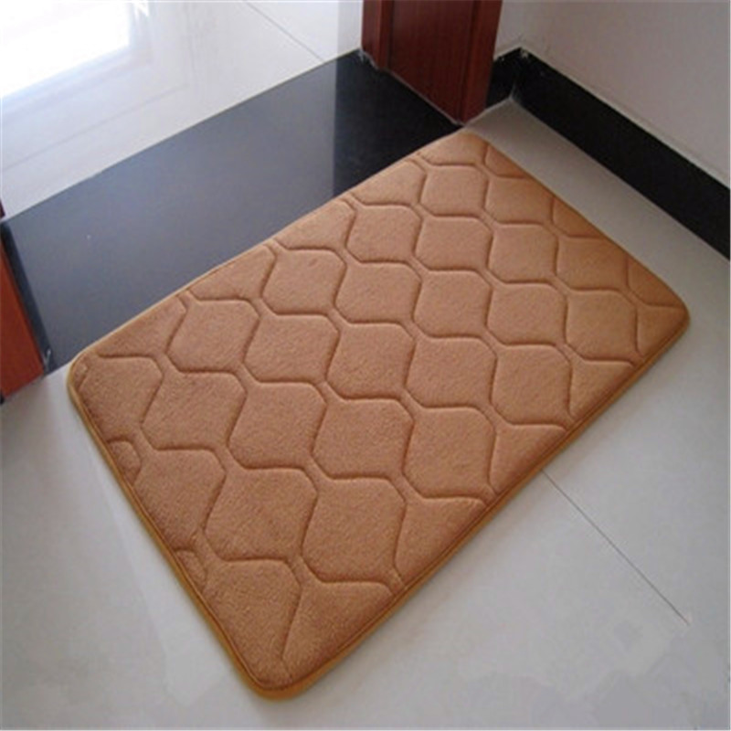 1Pcs Fashion Luxury Grid stripe Coral Velvet/Memory Foam Non-Slip Back Rug Soft Bathroom Carpet Memory Foam Bath Mat Pure Color