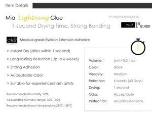 Image 2 - Mia Fast Eyelash Extension Glue Adhesive Medical Grade Semi Permanent 1 second Dry, 6 weeks Hold, Strong Bonding
