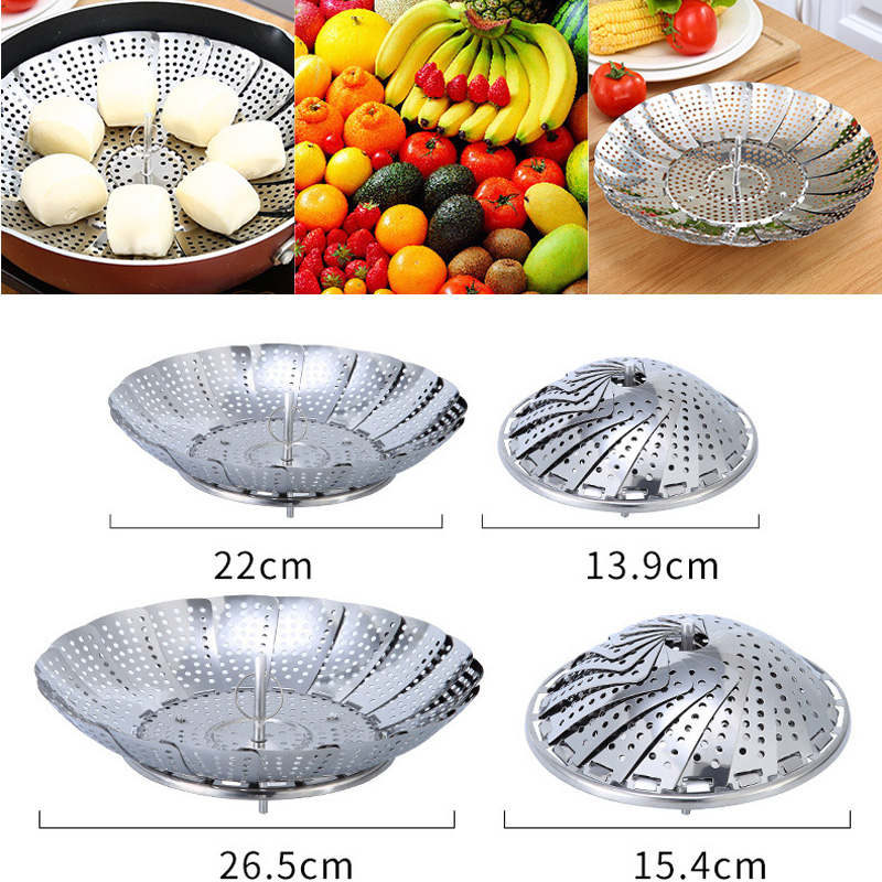 New Style Folding Food Fruit Vegetable Dish Steamer Cookware Stainless Steaming Basket Stainless Steamer For Drop Shipping 30