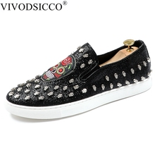 VIVODSICCO Men Trendy Studded Rivet skull Casual platform Flats Shoes Male  Wedding Moccasins Loafers Sapato Social 60cdcb29d89c