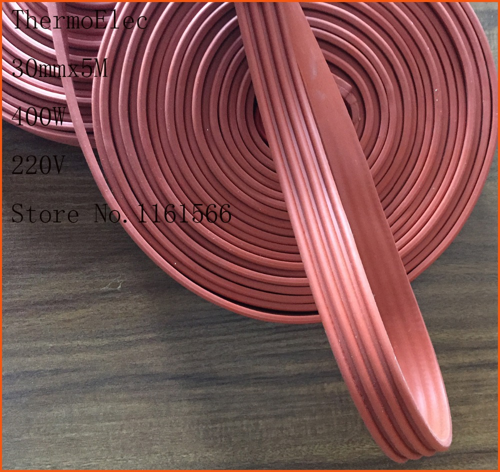30mmx5M 400W 220V Industrial laboratory Electric Waterproof Flexible Silicone Rubber Heater Heating Belt Unfreezer for Pipeline 15mmx3m 240w 220v high quality flexible silicone heating belt heat tracing belt silicone rubber pipe heater waterproof electric