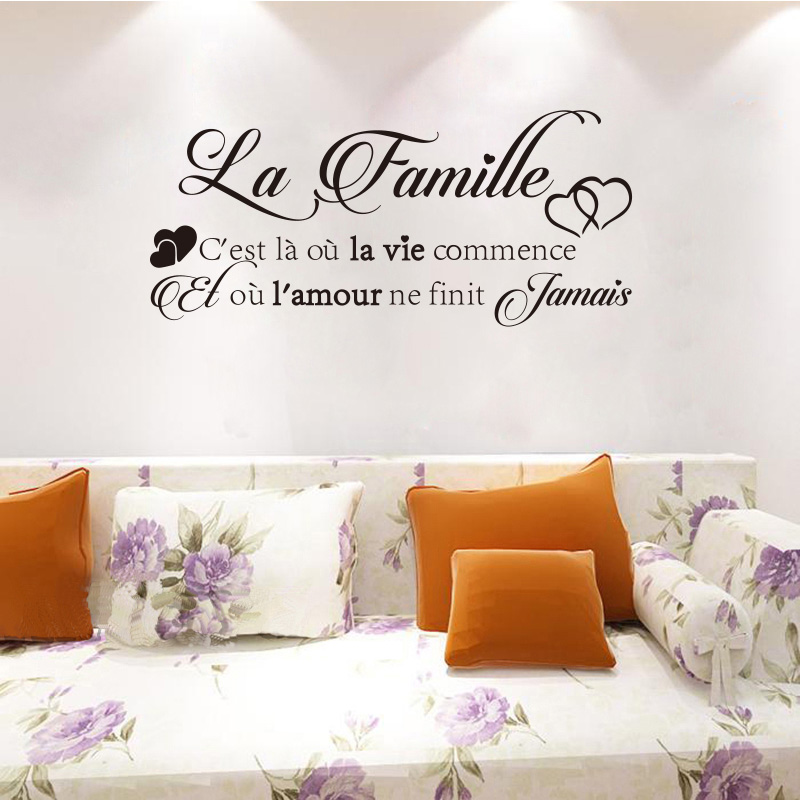 Calcomanías de vinilo de pared La-Famille Sticker Mural Autocollant Decoración Para sala de estar dormitorio DIY Arte Wallpaper Casa Decoración DW1210