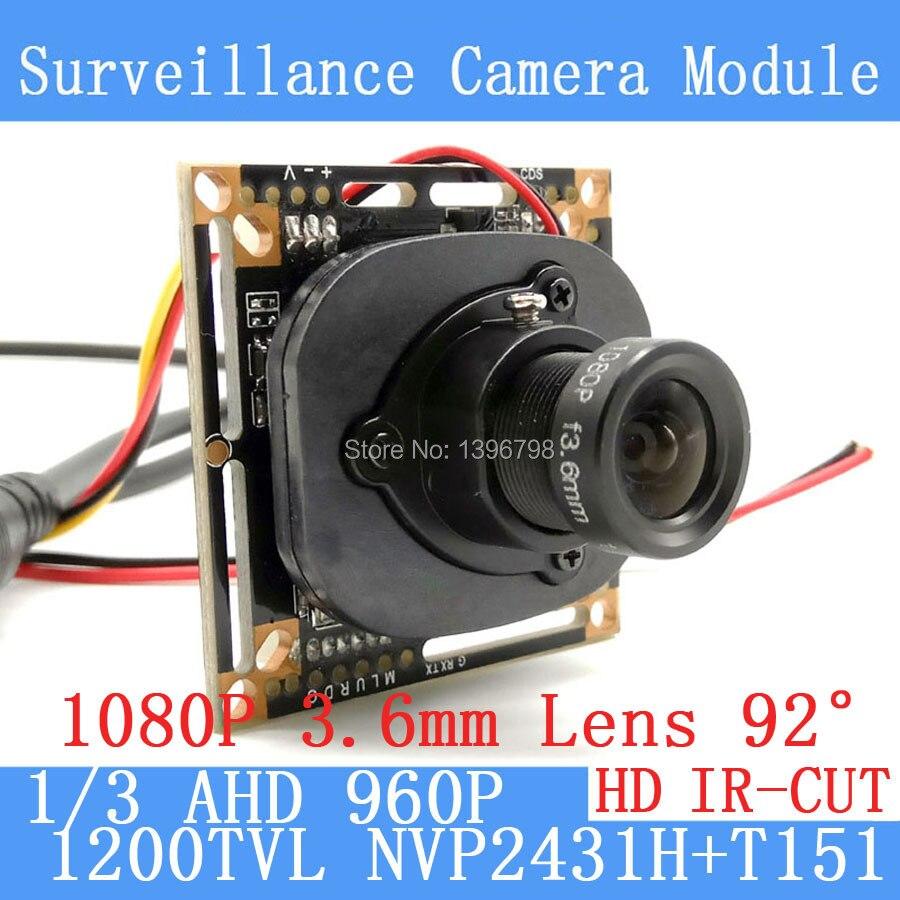 1200TVL AHD Caméra Module 960 P 1.3MP CCTV PCB Principal Conseil NVP2431H + T151 2MP 3.6mm Lens + IR Cut surveillance caméras ODS/BNC câble