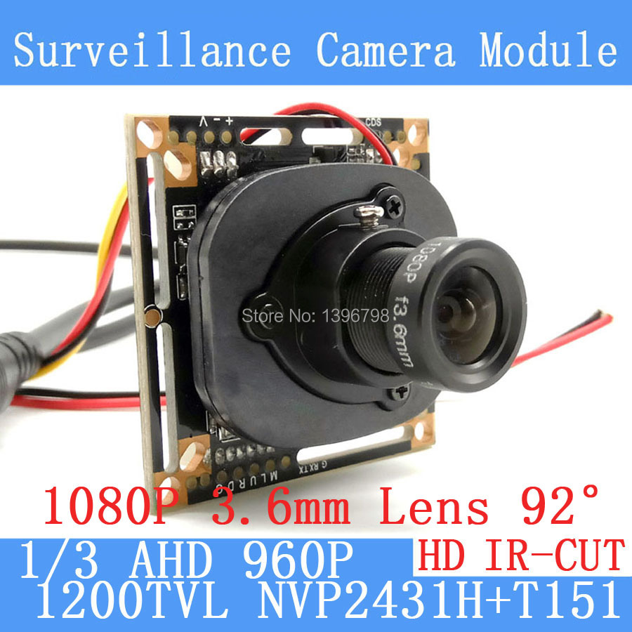 1200TVL AHD Camera Module 960P 1.3MP CCTV PCB Main Board NVP2431H+T151 2MP 3.6mm Lens+IR Cut surveillance cameras ODS/BNC cable