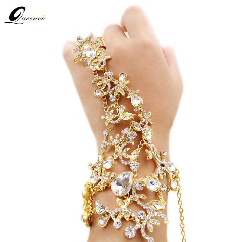 Crystal Bridal Bracelet Gold/Silver Wedding Dress Accessories Hand Chains Bracelets Jewelry bridal Bracelets & Bangles